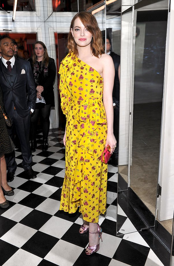 <p>At <em>W Magazine</em>'s Celebration of the Best Performances Portfolio, Emma stunned in a yellow Gucci dress.