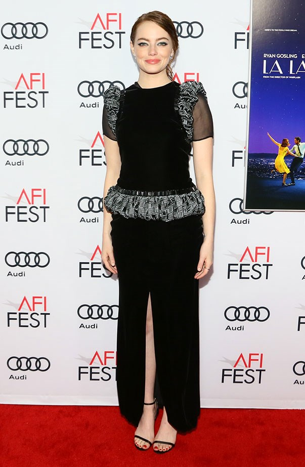 <p>Emma in Armani Privé at the AFI Fest screening of <em>La La Land</em>.