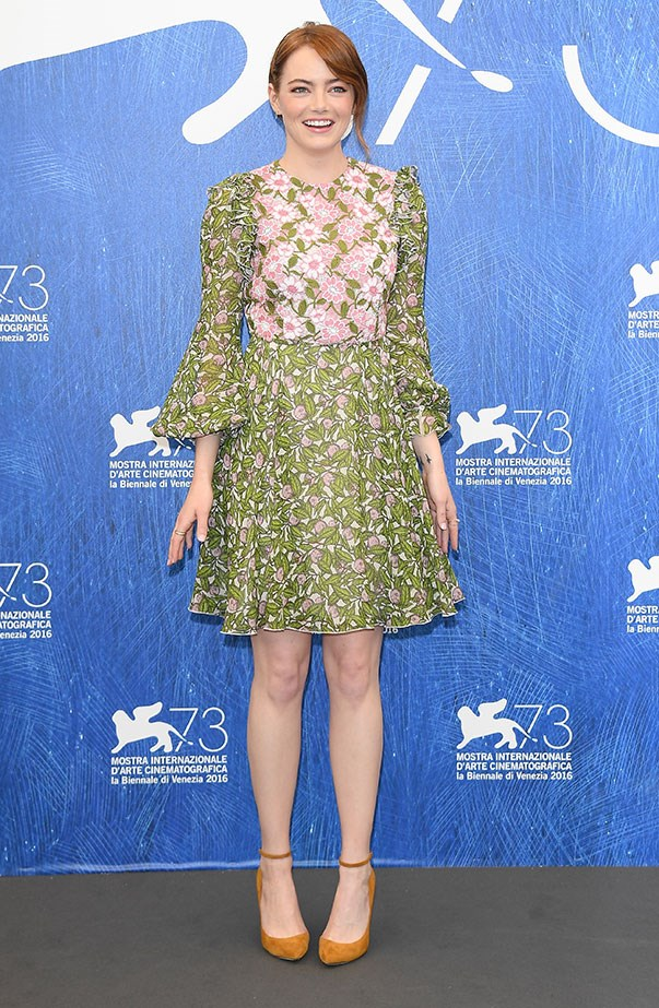 <p>Emma wore Giambattista Valli for the <em>La La Land</em> press conference at the Venice Film Festival.
