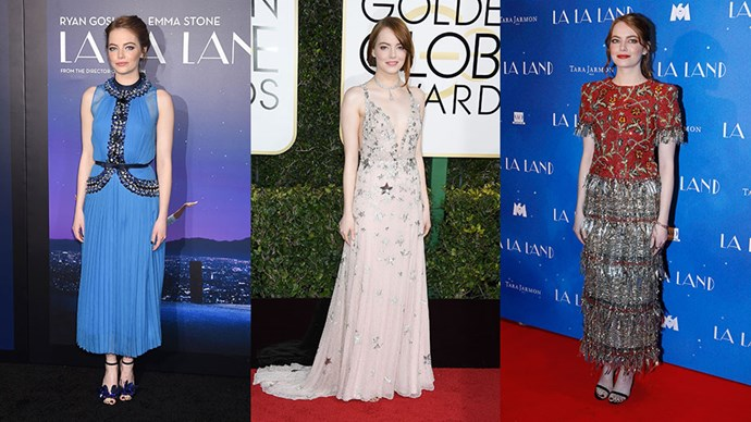 <p>Emma Stone's wardrobe for the <em>La La Land</em> press tour may be her best one yet. Continue through for all the looks and details.