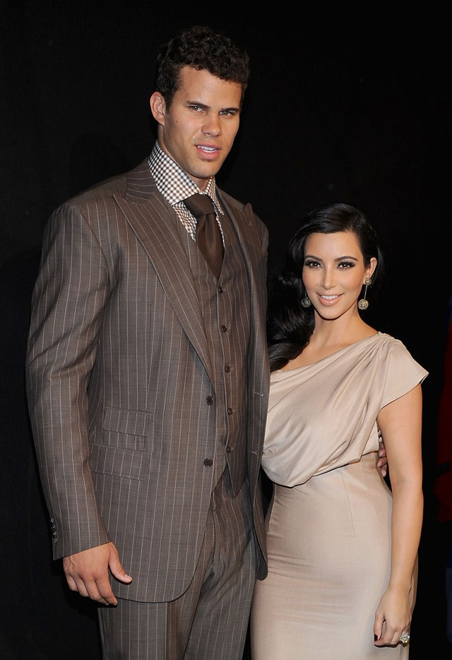 **Who?** Kim Kardashian and Kris Humphries.  **How long?** The two had been dating for eight months prior to getting engaged and married three months after that.  **Did it last?** Famously, their marriage lasted for less time than their engagement. They were wed for 72 days before they filed for divorce.