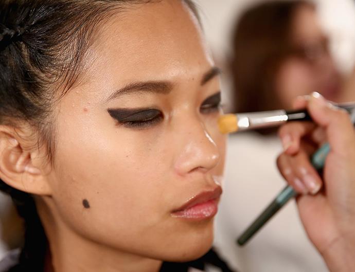 Makeup brushes, fashion week
