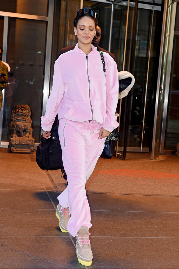 <p>Badgal Riri was, of course, ahead of the game, wearing this pink tracksuit back in 2015.