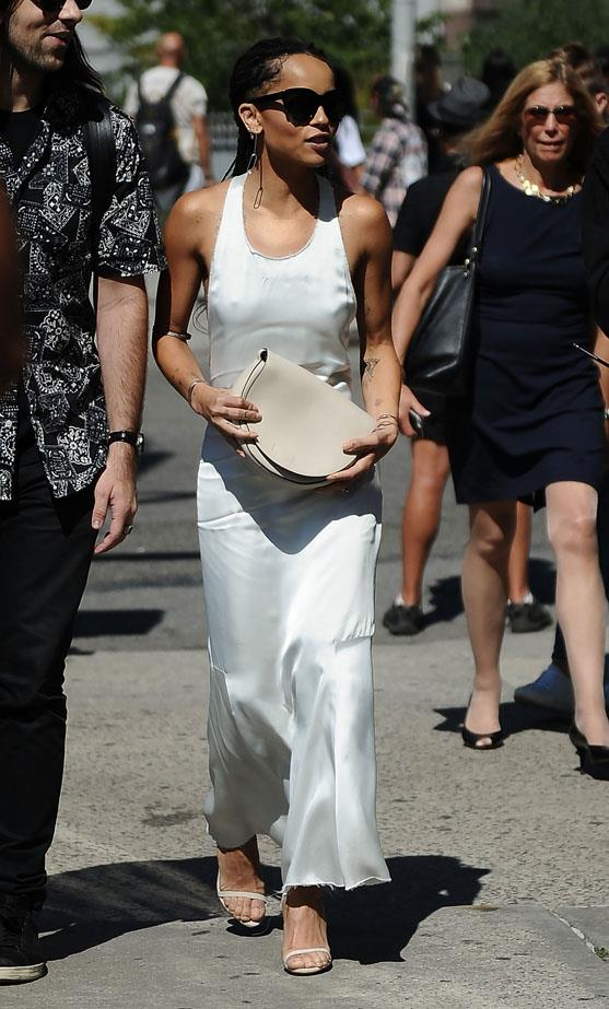 Kravitz proves slip dresses have weekend cred too, only when partnered with pared-back accessories. Extra props for her #FreeTheNipple moment.