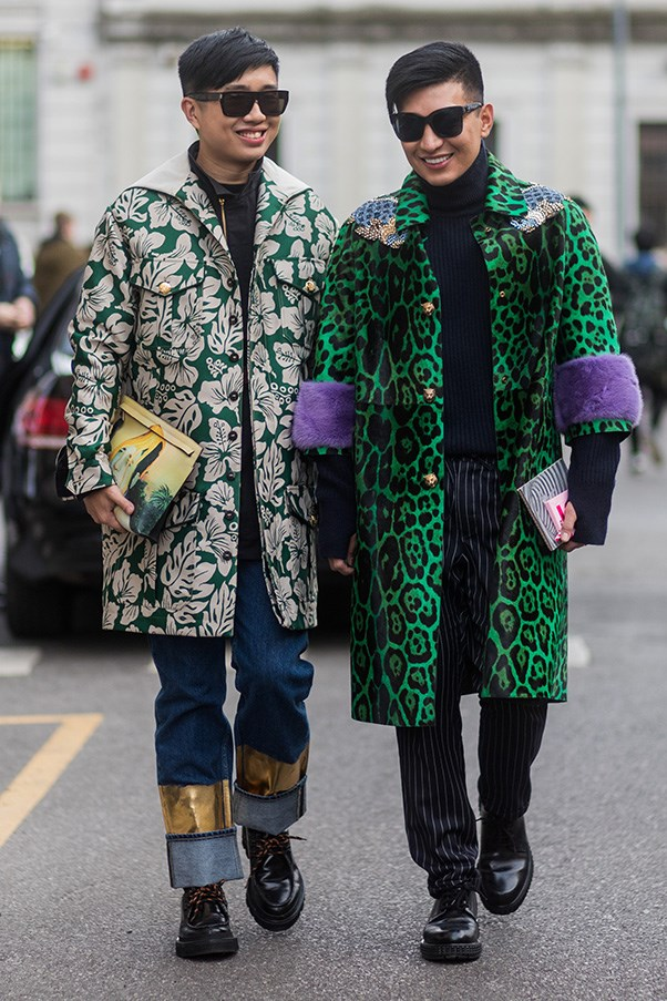 <strong>6. Let your statement pieces make a statement</strong><br><br> If you're going to fork-out on a statement piece, be it a leopard print emerald green coat or simply a great pair of heels, don't busy your outfit with pieces that will distract from it. See here, Bryan Boy (right) keeps everything else black.