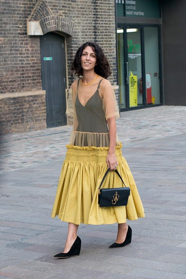 Yasmin Sewell in Molly Goddard at London fashion week.