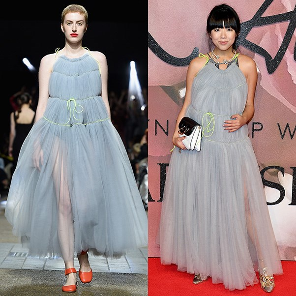 Susie Bubble in Molly Goddard spring summer '17 at the 2016 Fashion Awards.