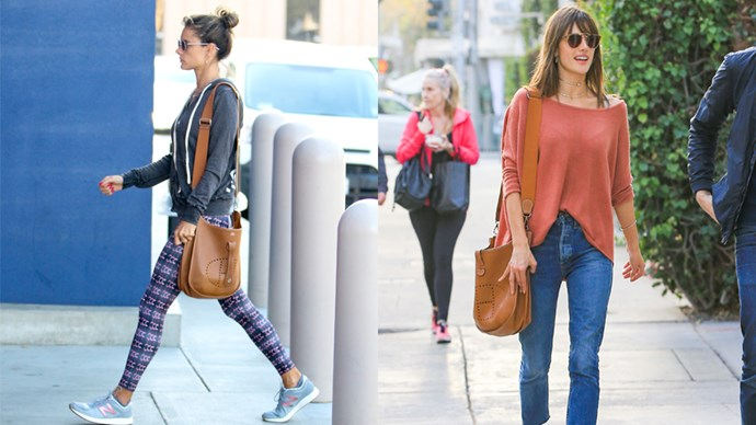 """<strong>Alessandra Ambrosio</strong> <br><br> Evelyne Poche III 29, $4475, <a href=""""http://australia.hermes.com/leather/bags/women/configurable-product-c-evelyne-75654.html?size_leather=M&color_hermes=GRIS%20MOUETTE&nuance=2&back_search=back_from_product+1%7Cdir+asc%7Corder+display_name_sort%7Cp+1%7Cq+bags%7Cshow_all+1"""">Hermès</a>."""