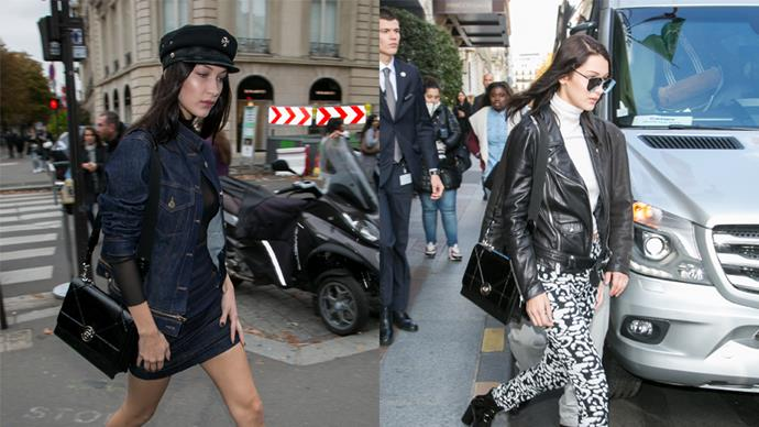 """<strong>Bella Hadid</strong> <br><br> Diorama Satchel, price on request,<a href=""""http://www.dior.com/couture/en_int/womens-fashion/leather-goods/diorama/diorama-satchel-in-shiny-black-crinkled-lambskin-17-35348""""> Dior</a>."""
