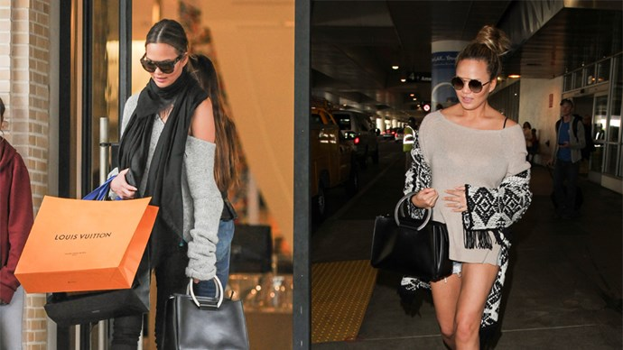 """<strong>Chrissy Teigen</strong> <br><br> Leather Tote, <em>approx.</em> $5960, The Row at <a href=""""https://www.net-a-porter.com/us/en/product/643743/the_row/classic-5-leather-tote"""">net-a-porter.com</a>"""