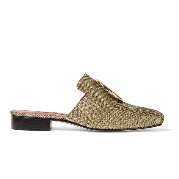 "<strong>Dorateymur</strong><br><br> Dorateymur slippers, $451, <a href=""https://www.net-a-porter.com/au/en/product/791714/DORATEYMUR/petrol-metallic-textured-lame-slippers"">Net-a-Porter</a>"