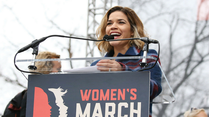 """<p><strong>America Ferrera</strong> <br><br> """"Our dignity, our character, our rights have all been under attack, and a platform of hate and division assumed power yesterday. But the president is not America. His cabinet is not America. Congress is not America. We are America. And we are here to stay."""""""