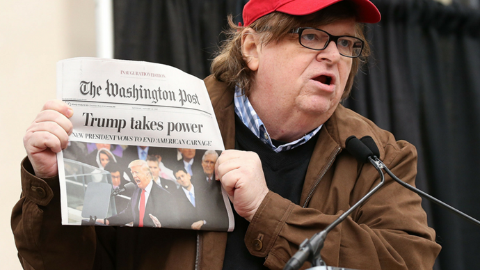 "<p><strong>Michael Moore</strong> <br><BR> ""I woke up this morning and the [Washington Post] headline read, 'Trump takes power.' I don't think so. Here's the power. Here's the majority of America, right here. We are the majority."""