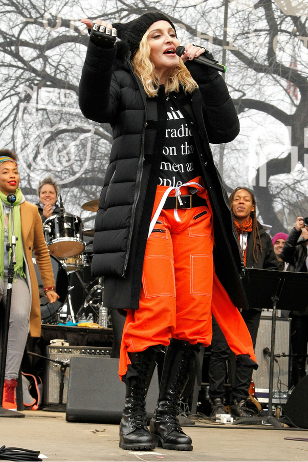 """<p><strong>Madonna</strong> <Br><BR> """"Welcome to the revolution of love. To the rebellion. To our refusal as women to accept this new age of tyranny. Where not just women are in danger but all marginalised people. Where people uniquely different might be considered a crime. It took us this darkness to wake us the fuck up… I choose love. Are you with me? Say this with me: We choose love."""""""