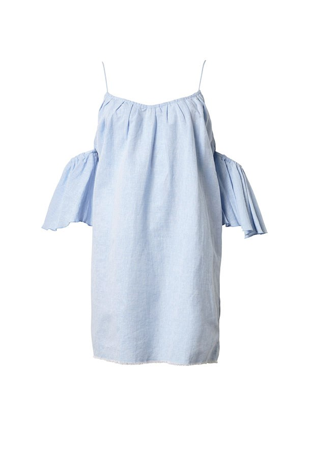 """Dress, $229, Steele at <a href=""""https://www.steelelabel.com/shop/tully-dress-chambray-blue/"""">Steele The Label</a>."""