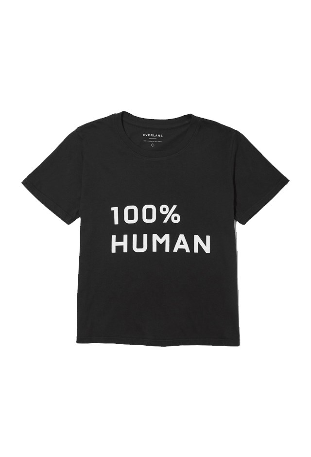 """<p> Tee, approx. $29, <a href=""""https://www.everlane.com/collections/100-percent-human/products/womens-human-box-tee-mprint-black?utm_source=pepperjam&utm_medium=2-112673&utm_campaign=21181&clickId=1856131404"""">Everlane</a>.<p> <p> $5 from every sale goes to <a href=""""https://www.aclu.org/"""">American Civil Liberties Union</a>."""