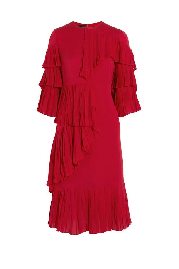 "Dress, $5,740, Gucci at <a href=""https://www.net-a-porter.com/au/en/product/608172/gucci/ruffled-silk-georgette-dress"">Net-A-Porter</a>."
