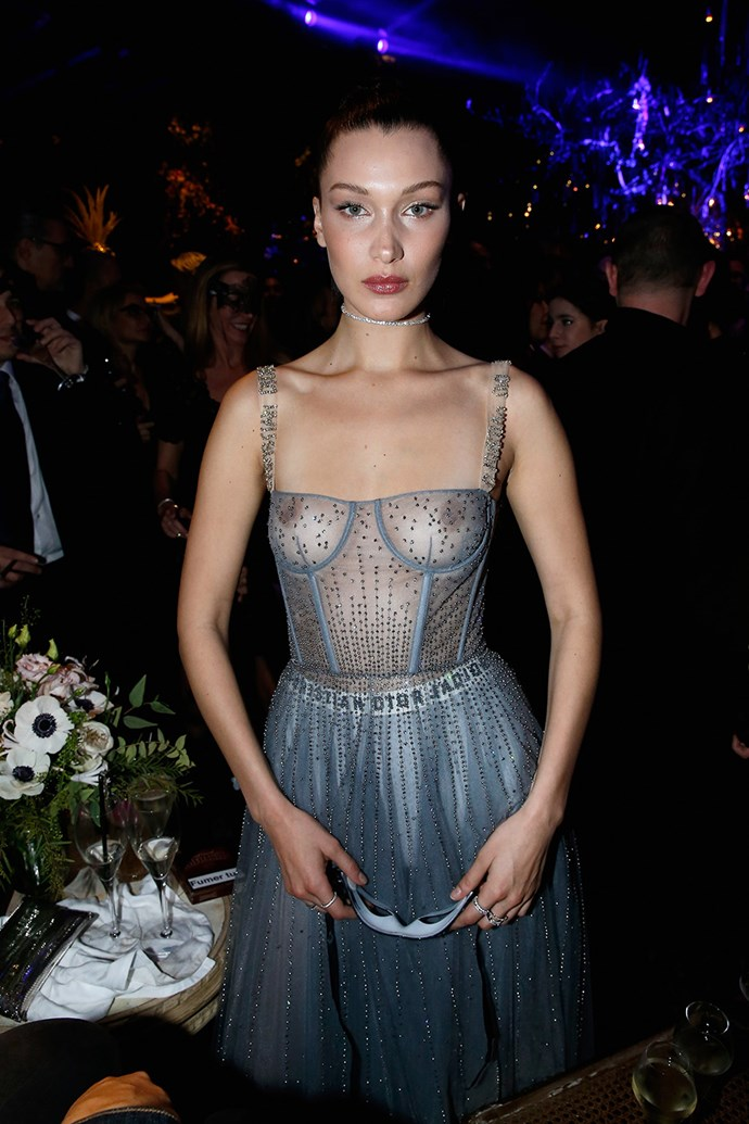 Bella Hadid hit up the Christian Dior Couture afterparty in Paris, where she wore this tulle Dior dress—sans-lining.