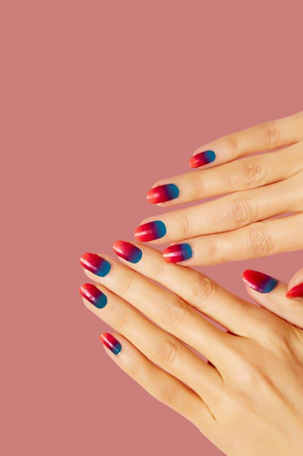 """<strong>'80s Gradient</strong> <br><br> """"Spring 2017 NYFW was filled with colour,"""" said Poole. """"The vivid colours and signature shoulder pads of the '80s sprinkled the runways in New York and London."""" Poole and the Sally Hansen Team gave both Monse and 3.1 Phillip Lim gradient nails for the SS17 runway shows, extending the life of last year's ombré nail. But to update the trend, Poole suggests applying a surprising colour combination: teal, magenta, and hot pink."""