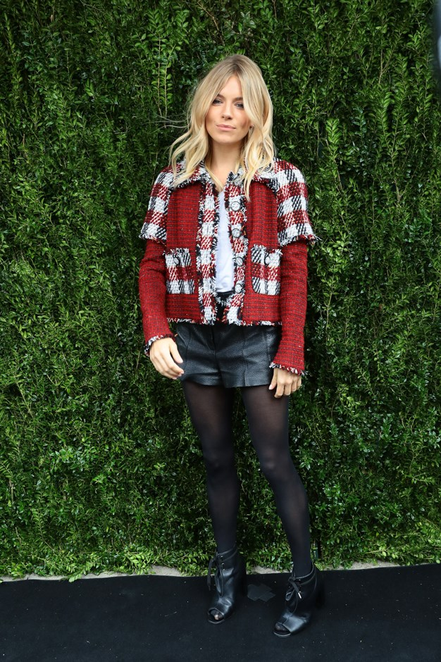 <p>Evidence #4: Sienna Miller dons black leather shorts in New York in October.