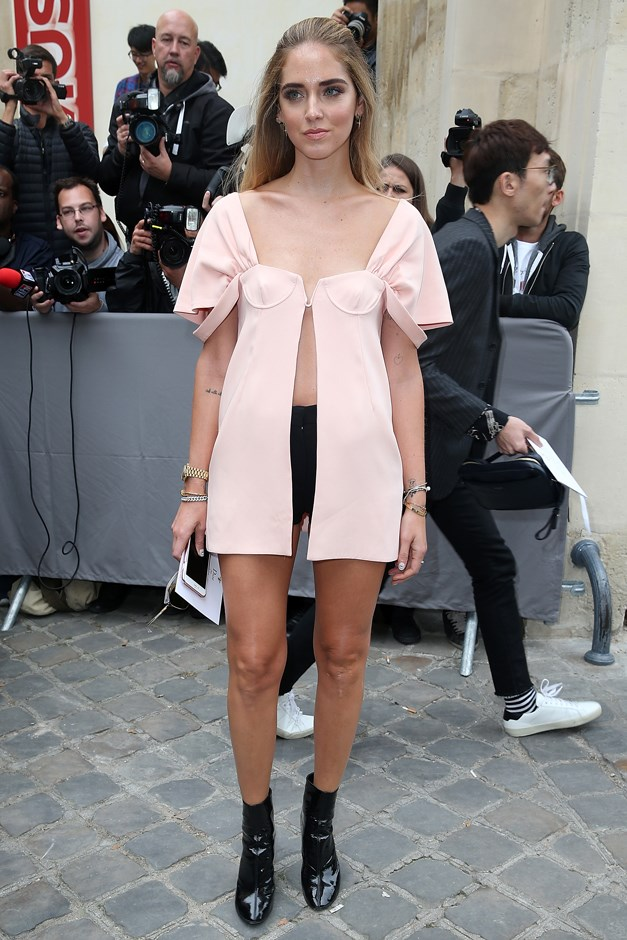 <p>Evidence #9: Chiara Ferragni wears barely-there black hot pants with her Dior blouse.