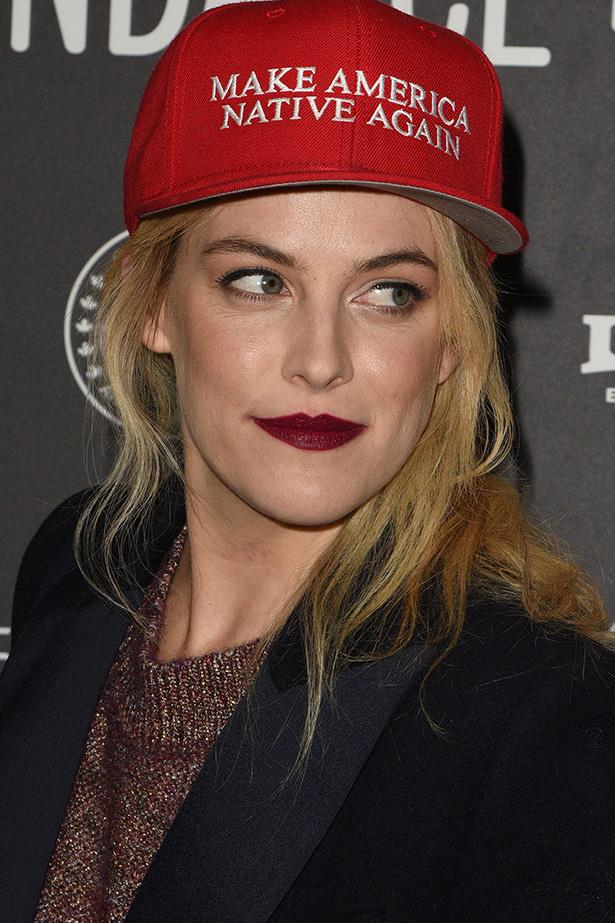 <strong>Riley Keough</strong> <br> <br> The beetroot lip tone polishes off her matte complexion and textured waves.