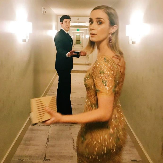 """<p>This is what John Krasinski and Emily Blunt look like when they're on their way to an awards show. <p>Image: <a href=""""https://www.instagram.com/p/BP3c6zcFm0o/"""">@johnkrasinski</a>"""