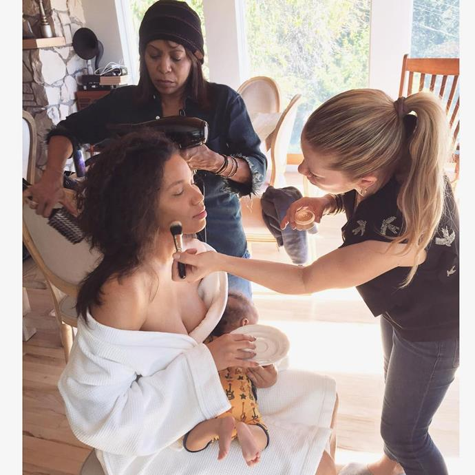 """<p>Jurnee Smollet-Bell got ready with her baby son on her lap. <p>Image: <a href=""""https://www.instagram.com/p/BP3FcYTBCt8/"""">@jurneebell</a>"""