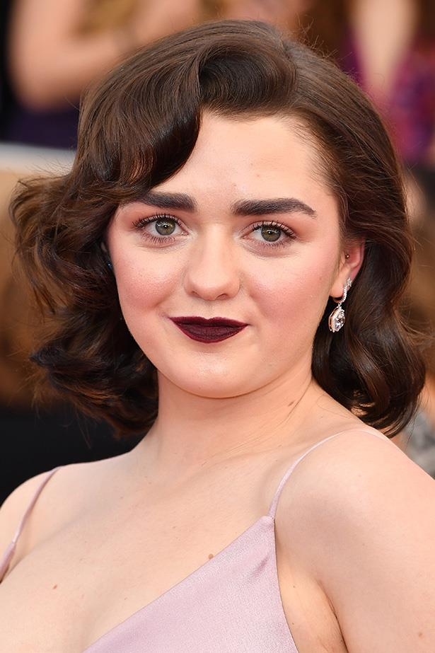 <strong>Maisie Williams</strong> <br> <br> This isn't the first plum lip we've seen today. It's clear moody lips and brushed up brows aren't going anywhere this award's season.