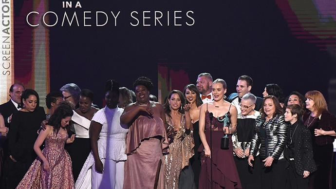 """<p><strong>The <em>Orange Is The New Black</em> cast</strong> <BR><BR> """"But mostly, we'd like to say that we stand up here representing a diverse group of people, representing generations of families who have sought a better life here from places like Nigeria, the Dominican Republic, Puerto Rico, Colombia, Ireland. And we know that it's going to be up to us, and all of you, probably, too, to keep telling stories that show what unites us is stronger than the forces that seek to divide us."""""""