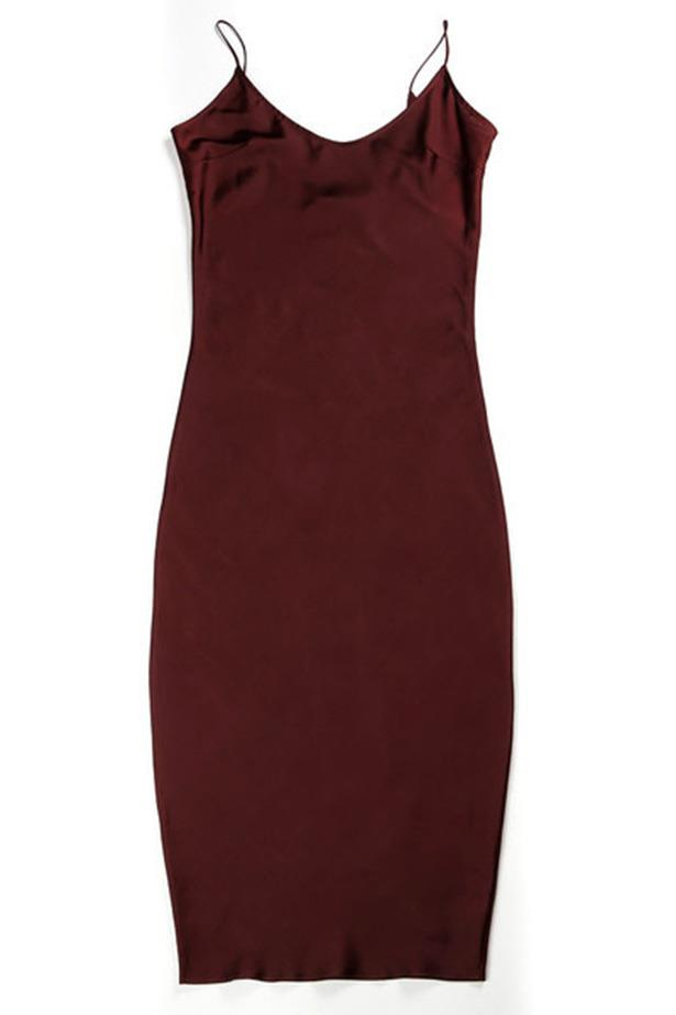"Tylynn Nguyen Slip Dress in Maroon, $319, at <a href=""http://http://lovetwain.com/collections/slip-dressing/products/slip-dress-maroon"">Love Twain</a>"