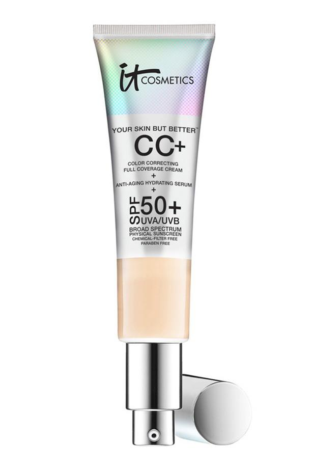 """Evan's skin was prepped with a CC cream we've been fans of ever since it launched in Sephora, Australia last year. The product has become somewhat of a cult beauty buy among editors and makeup artists alike. <br> <br> It Cosmetics Your Skin But Better CC Cream, $58, at <a href=""""http://www.sephora.com.au/products/it-cosmetics-your-skin-but-better-cc-cream-with-spf-50-plus"""">Sephora</a>"""