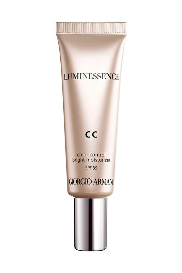 """What exactly makes CC creams more red-carpet worthy than foundation? Their anti-fatigue formula. CC creams are a mix of brightening and colour correcting ingredients that don't fall into the creases of the skin, thanks to a generous dose of hyaluronic acid. <br> <br> Originally they were a sheer coverage option, but now, formulas provide a highly pigmented coverage, equivalent to a liquid foundation. <br> <br> These are just some of the CC complexion perfectors replacing our go-to bases. <br> <br> Giorgio Armani Luminessence CC Cream, $89, at <a href=""""http://http://shop.davidjones.com.au/djs/en/davidjones/luminessence-cc-cream"""">David Jones</a>"""