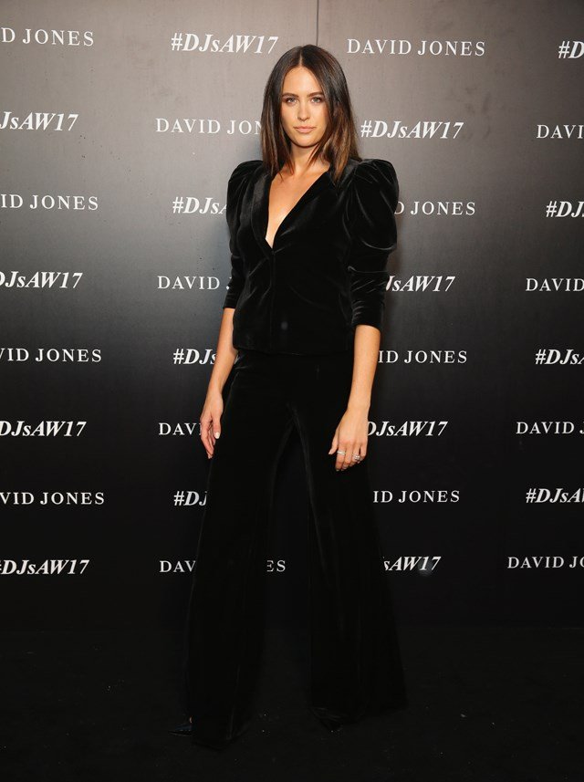 Jesinta Franklin switched up the power suit, sans-shirt, in Carla Zampatti.