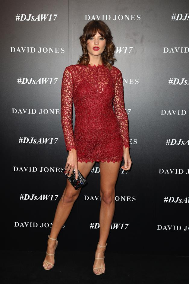 Montana Cox obviously ran with the memo, going short in a red lace playsuit.