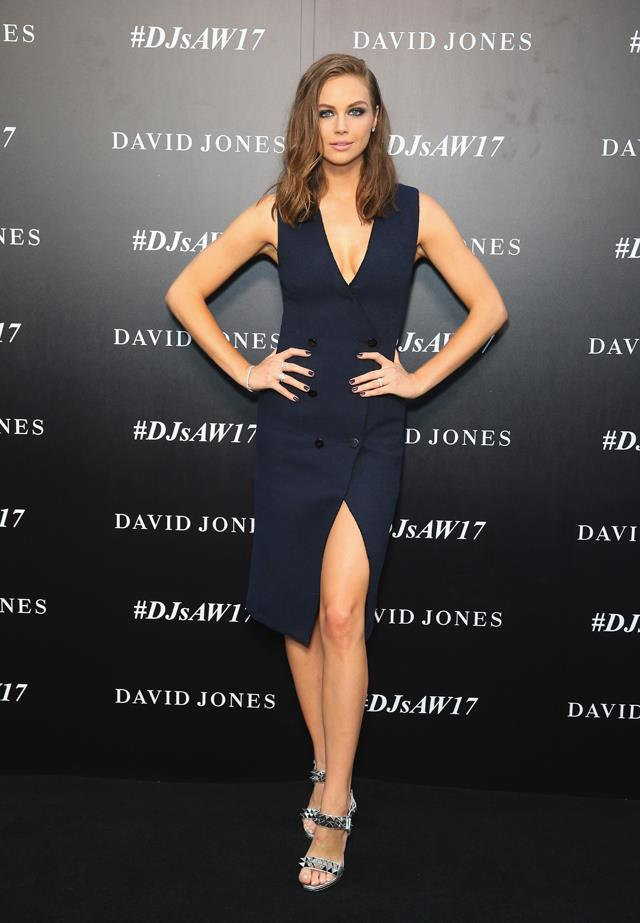 Ksenija Lukich went low in navy Camilla and Marc.