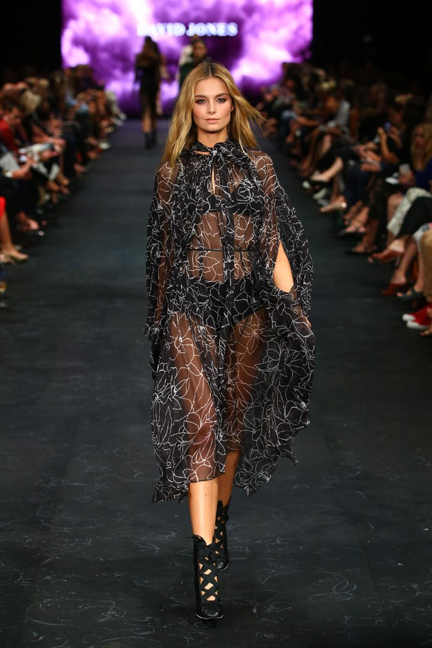 Sheer also had a spot on the runway, courtesy of Lover.