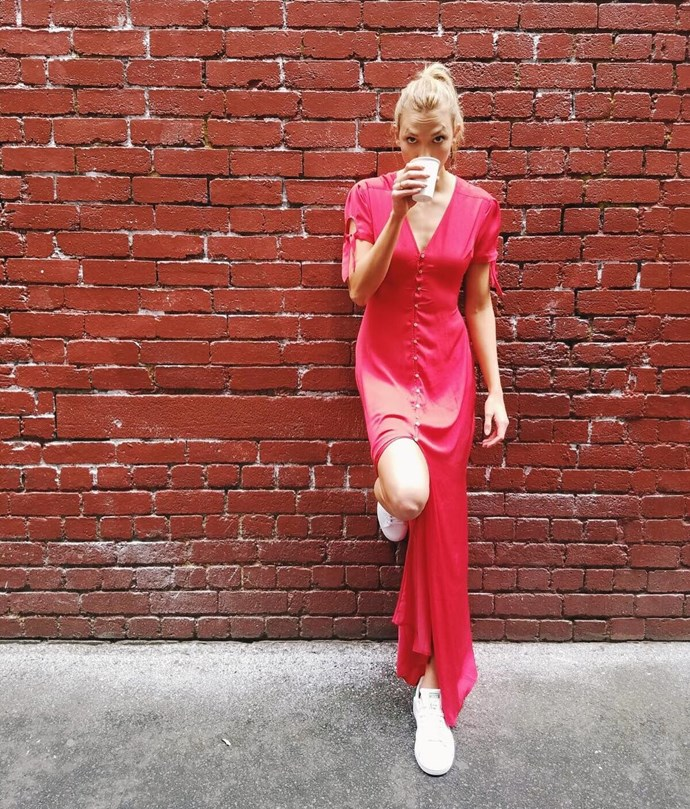 <p> A breezy red dress with simple white sneakers is an instant win.