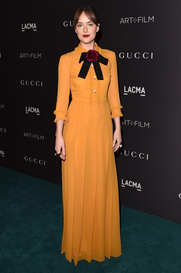 Dakota wore this mustard gown, with a festive black bow, to the LACMA Art+Film gala two years ago.