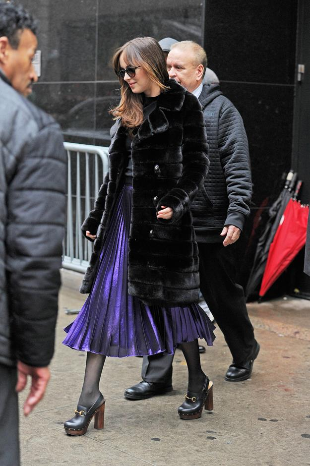 'Iridescent purple pleated skirt' and 'Horsebit clog heels' are words we wouldn't have necessarily put together—but they feel so good.
