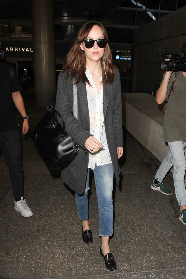 Even Dakota isn't immune to the charms of the Gucci horse-bit loafer.