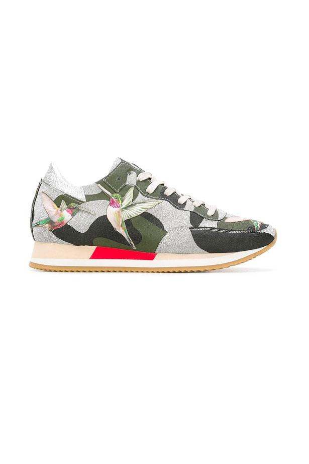 """Philippe Model Camoflage Print, $559 at <a href=""""https://www.farfetch.com/au/shopping/women/philippe-model-camouflage-print-sneakers--item-11795694.aspx?storeid=9214&from=1&ffref=lp_pic_1_27_"""">Farfetch</a>."""