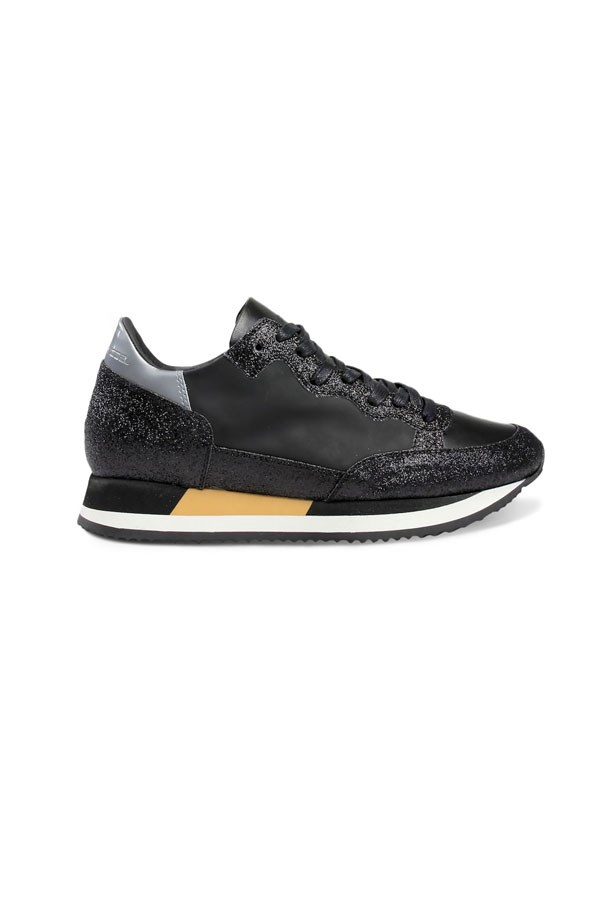 """Philippe Model Low Donna, $669 at <a href=""""https://www.modesportif.com/shop/product/philippe-model-low-donna-in-black-glitter/"""">Mode Sportif</a>."""