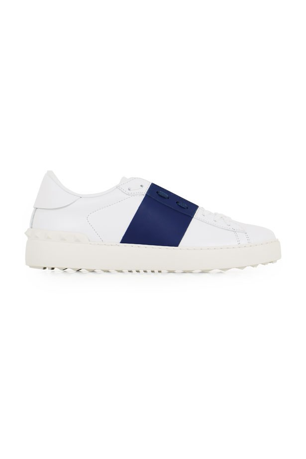 """Valentino Open, $865 at <a href=""""http://www.parlourx.com/brands/valentino/open-sneaker-smooth-leather-white-ocean-blue.html"""">Parlour X</a>."""