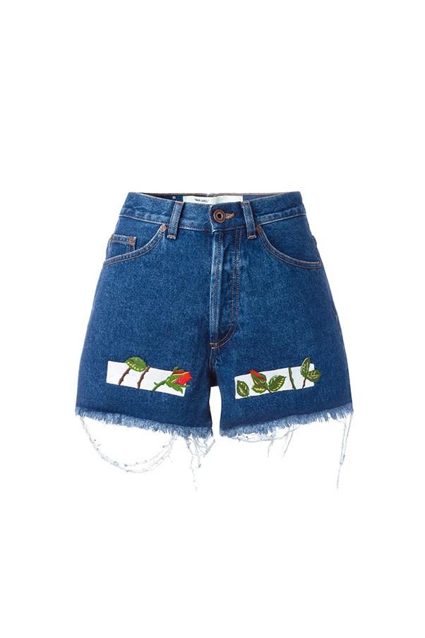 """Off-White shorts, $536 at <a href=""""https://www.farfetch.com/au/shopping/women/off-white-embroidered-denim-shorts-item-11801965.aspx?storeid=9336&from=listing&tglmdl=1&ffref=lp_pic_10_28_"""">Farfetch</a>"""