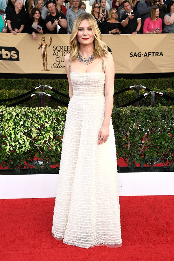 Kirsten Dunst in Dior at the Screen Actors Guild awards.