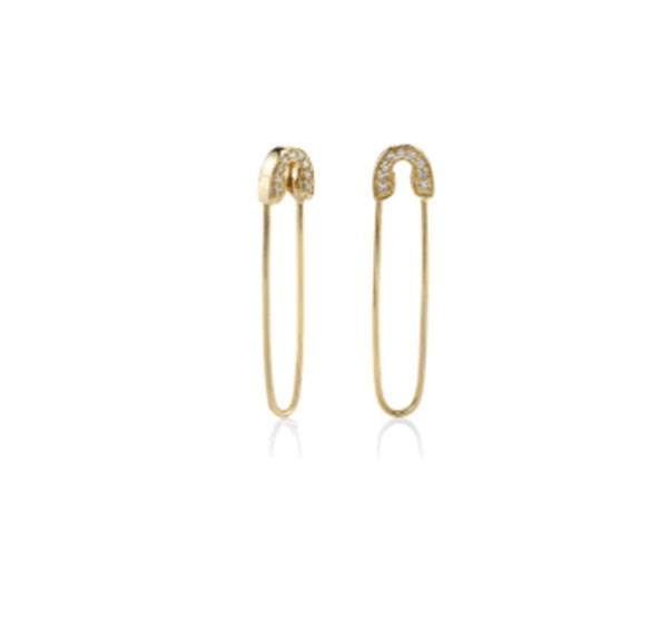 "<p>Sydney Evan earrings, approx. $890 at <a href=""http://www.sydneyevan.com/yellow-gold-diamond-safety-pin-earrings"">Sydney Evan</a>"