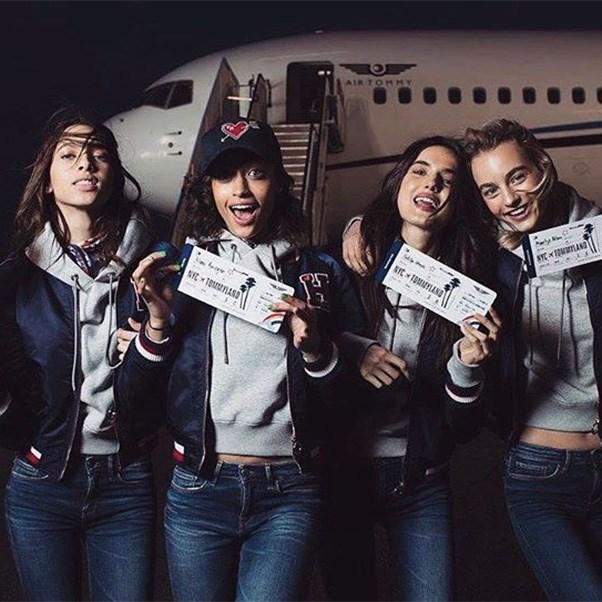 "<strong>The private jet</strong><br><br> Models Yasmin Wijnaldum, Alanna Arrington, Bianca Padilla and Maartje Verhoef<br><br> Instagram: <a href=""https://www.instagram.com/p/BQQsvuNDMJN/"">@yasminwijnaldum</a>"