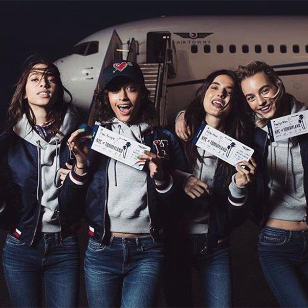 "<strong>The private jet</strong><br><br> Models Yasmin Wijnaldum, Alanna Arrington, Bianca Padilla and Maartje Verhoef<br><br> Instagram: <a href=""https://www.instagram.com/p/BQQsvuNDMJN/"">@yasminwijnaldum</a>"