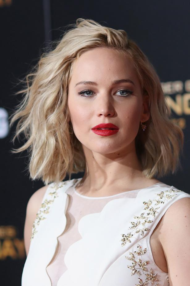 <strong>Jennifer Lawrence</strong>  <br> <br>  The beachy waves take the edge off the sharp cut.